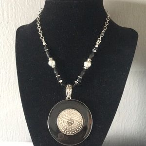 New Black & Silver Medallion Beads Necklace & Earr